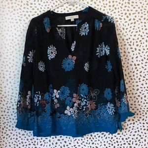 🐰 LOFT floral sheer blouse